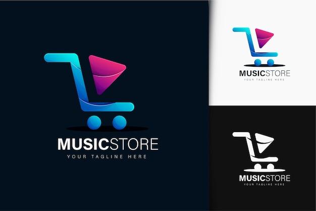 Diseño de logo de tienda de música con degradado.