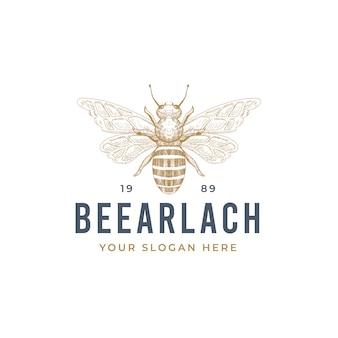 Diseño de logotipo de abeja dibujado a mano vintage