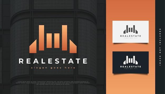 Diseño de logotipo abstracto de bienes raíces de lujo. diseño de logo de construcción, arquitectura o edificio