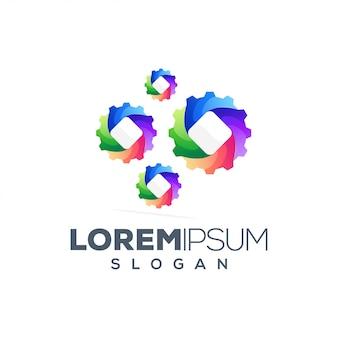 Diseño de logotipo abstracto colorido engranaje