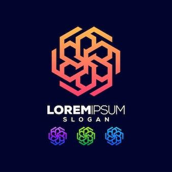 Diseño de logotipo abstracto colorido hexágono