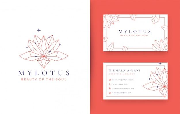 Diseño de logotipo abstracto de cristal de piedra de lotus