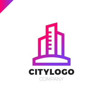 Diseño de logotipo abstracto edificio de la ciudad