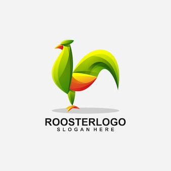 Diseño de logotipo abstracto de gallo con vector