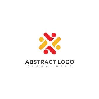 Diseño de logotipo abstracto de la gente