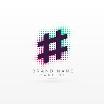 Diseño de logotipo abstracto del hashtag