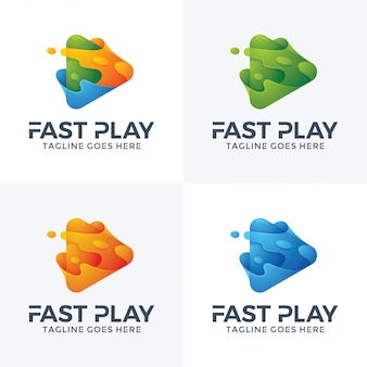 Diseño de logotipo abstracto juego rápido.
