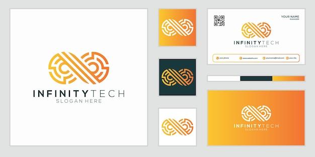 Diseño de logotipo abstracto de lujo infinity technology