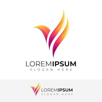 Diseño de logotipo abstracto pájaro a todo color
