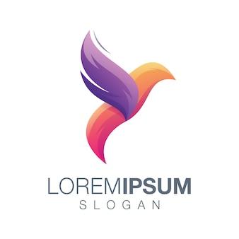 Diseño de logotipo abstracto pájaro