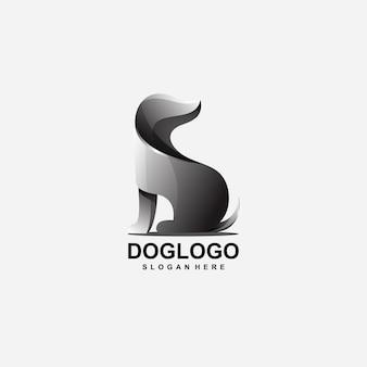 Diseño de logotipo abstracto de perro con vector