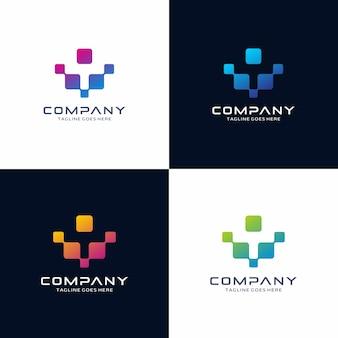 Diseño de logotipo abstracto de tecnología
