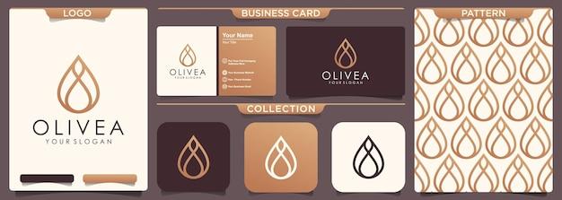 Diseño de logotipo de aceite de oliva gota de agua