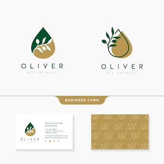 Diseño de logotipo de aceite de oliva con plantilla de tarjeta de visita