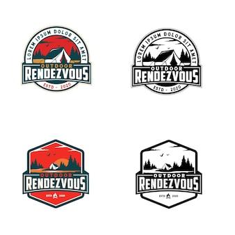Diseño de logotipo de actividad al aire libre de camping