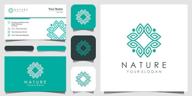 Diseño de logotipo de adorno elegante minimalista para belleza, cosméticos, yoga y spa. diseño de logo y tarjeta de presentación