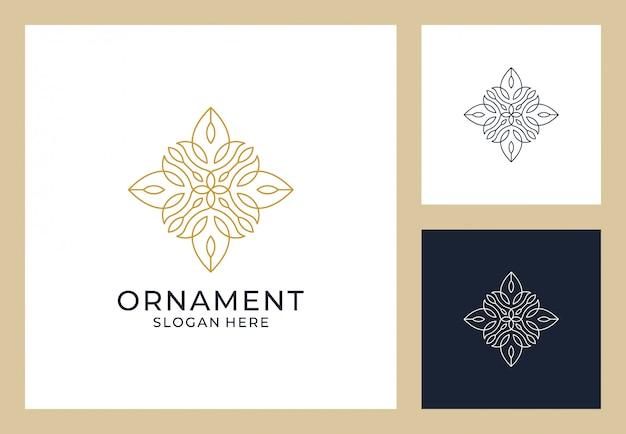 Diseño de logotipo de adorno en estilo de línea de arte