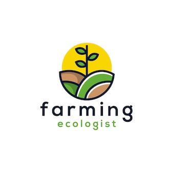 Diseño de logotipo de agricultura verde círculo sol