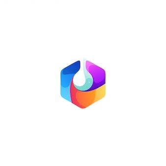 Diseño de logotipo de agua hexagonal