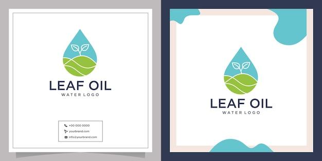 Diseño de logotipo de agua potable de hoja de gota de naturaleza