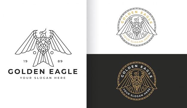 Diseño de logotipo de águila de arte lineal