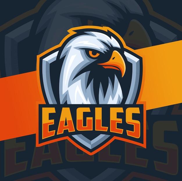 Diseño de logotipo de águila cabeza mascota esport