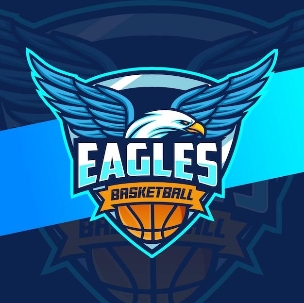 Diseño de logotipo de águila mascota baloncesto deporte