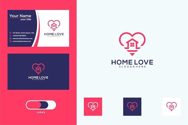 Diseño de logotipo de amor en casa y tarjeta de visita.