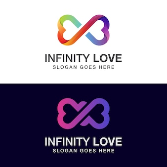 Diseño de logotipo de amor infinito de color degradado con dos versiones