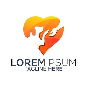 Diseño de logotipo de amor para mascotas