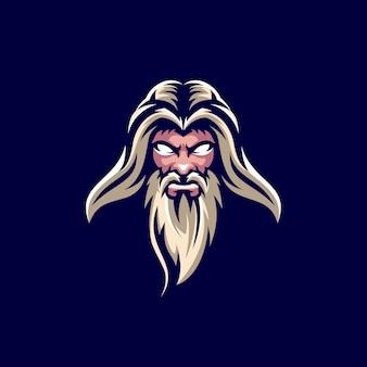 Diseño de logotipo de anciano con barba