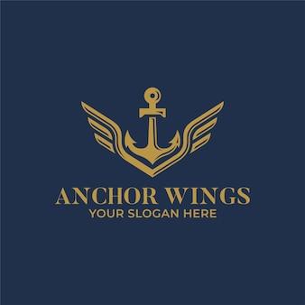 Diseño de logotipo de ancla con alas