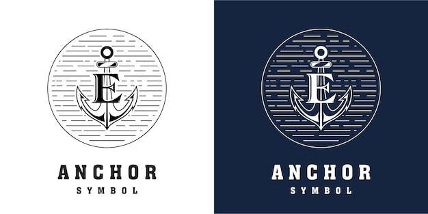 Diseño de logotipo de ancla con combinación de letra e