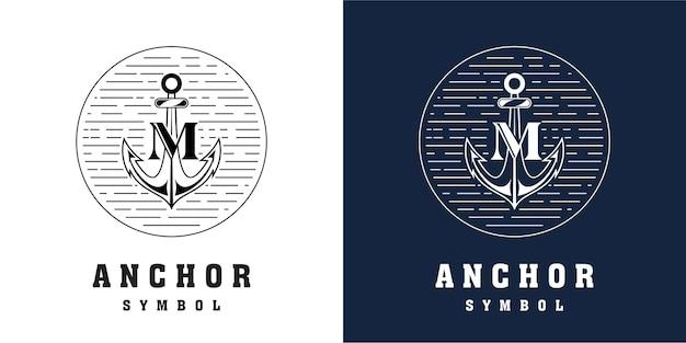 Diseño de logotipo de ancla con combinación de letra m