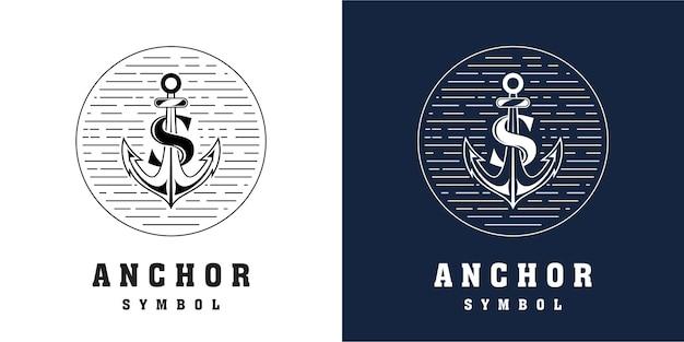 Diseño de logotipo de ancla con combinación de letra s