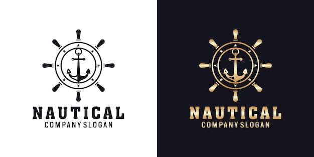 Diseño de logotipo de ancla náutica retro hipster con rueda de barcos
