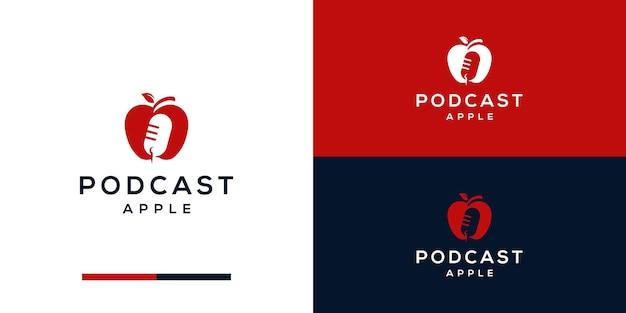 Diseño de logotipo de apple con espacio negativo de podcast.