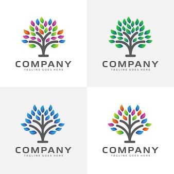 Diseño de logotipo de árbol abstracto
