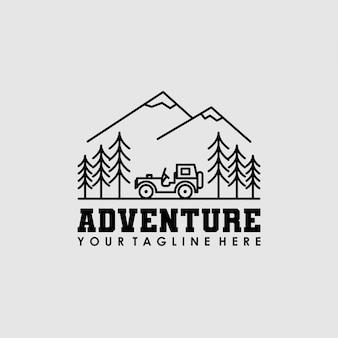 Diseño de logotipo de árbol de coche de aventura