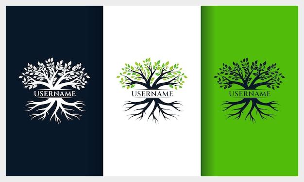 Diseño de logotipo de árbol de la vida, plantilla de logotipo de ilustración de árbol de naturaleza