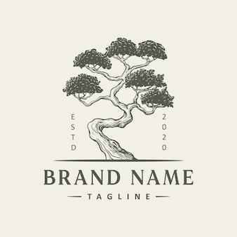 Diseño de logotipo de árbol vintage