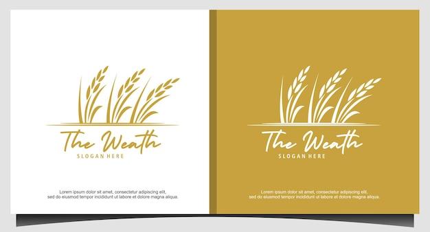 Diseño de logotipo de arroz o weath de grano dorado de lujo