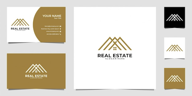 Diseño de logotipo de arte de línea de bienes raíces para el hogar y tarjeta de visita