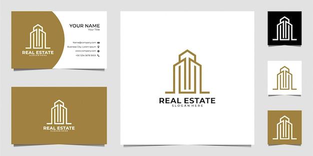 Diseño de logotipo de arte de línea de bienes raíces y tarjeta de visita
