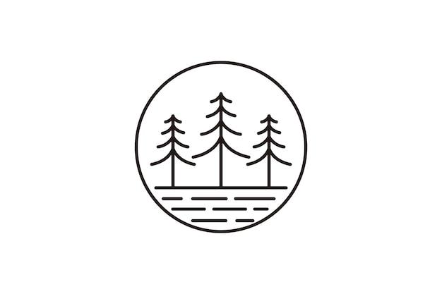 Diseño de logotipo de arte de línea de bosque de pino vintage