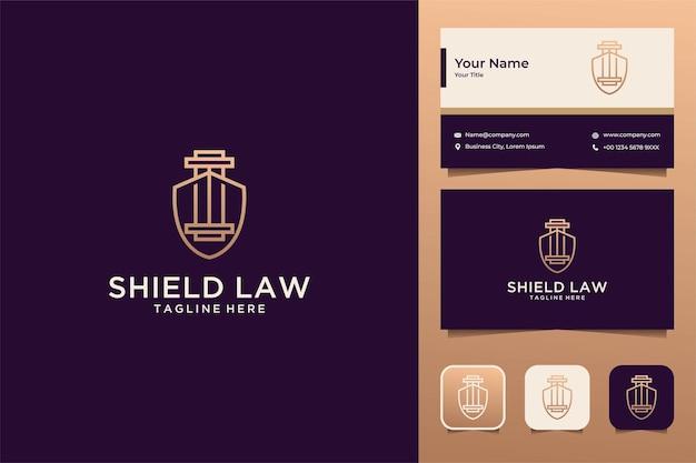 Diseño de logotipo de arte de línea de bufete de abogados de escudo de lujo y tarjeta de visita
