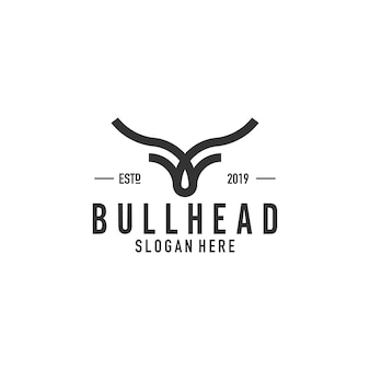 Diseño de logotipo de arte de línea de cabeza de toro