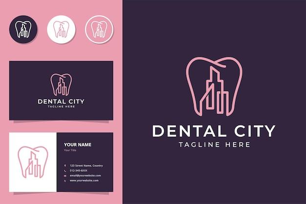 Diseño de logotipo de arte de línea de ciudad dental