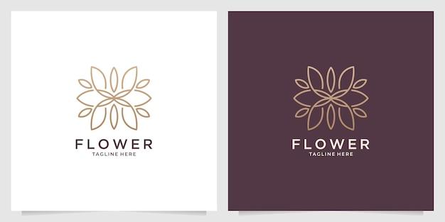 Diseño de logotipo de arte de línea de flor de belleza