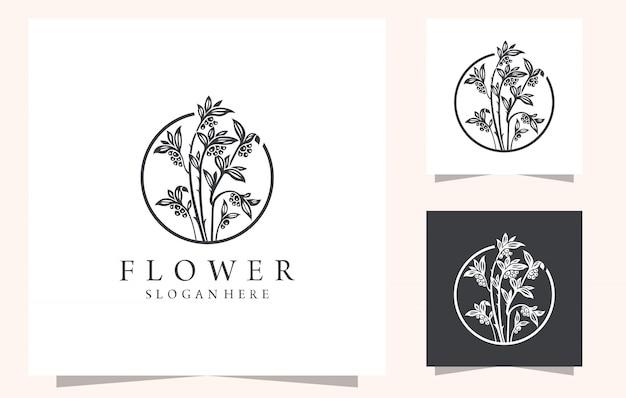 Diseño de logotipo de arte de línea de flores